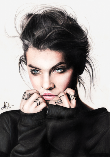 A colour illustration of model barbara palvin